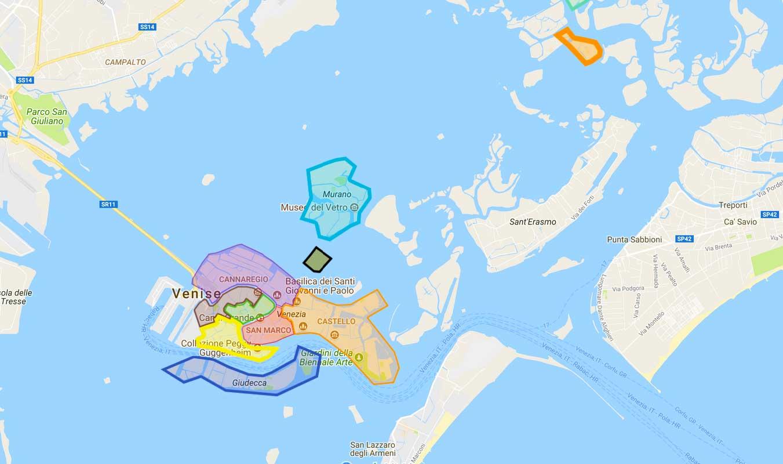 Carte interactive de Venise, retrouvez les quartiers les ...