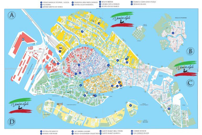 Carte touristique de Venise